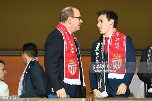 Prince Albert of Monaco and Louis Ducruet during the UEFA Champions League match between AS Monaco and Besiktas Istanbul at Stade Louis II on October...