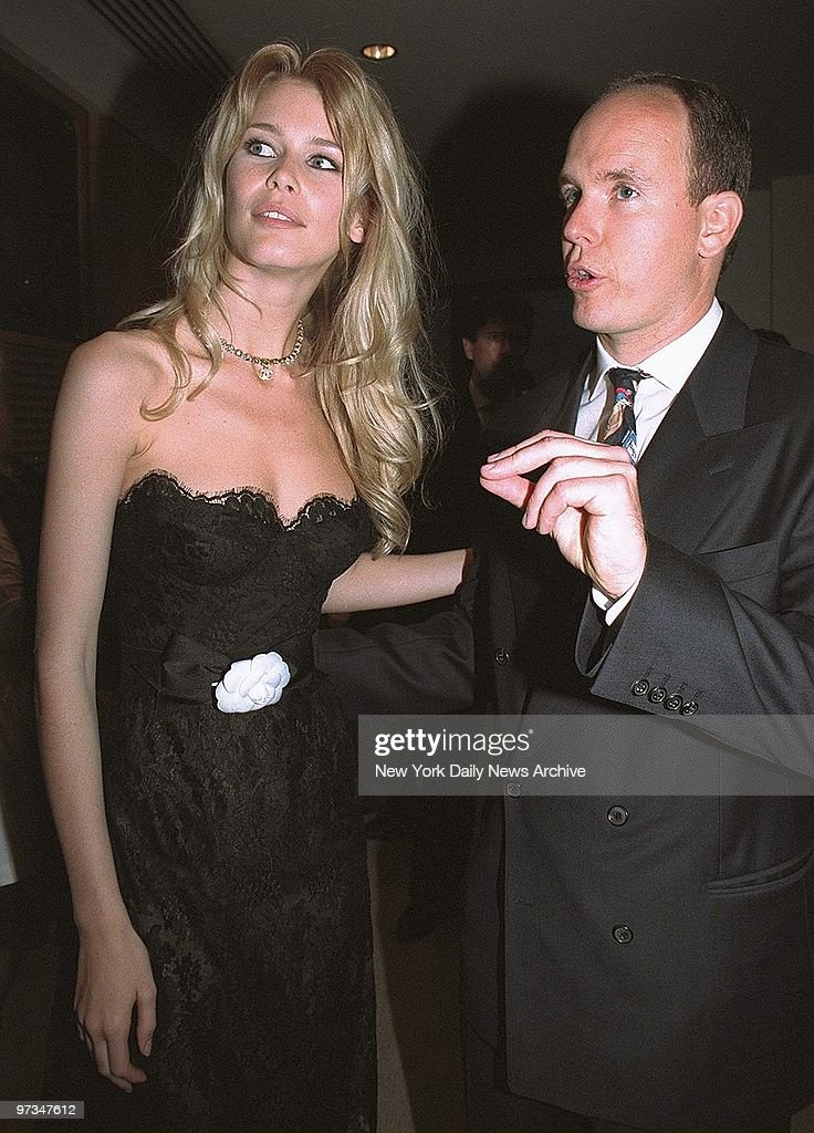 Prince Albert of Monaco and model Claudia Schiffer attending a cocktail party for the World Music Awards