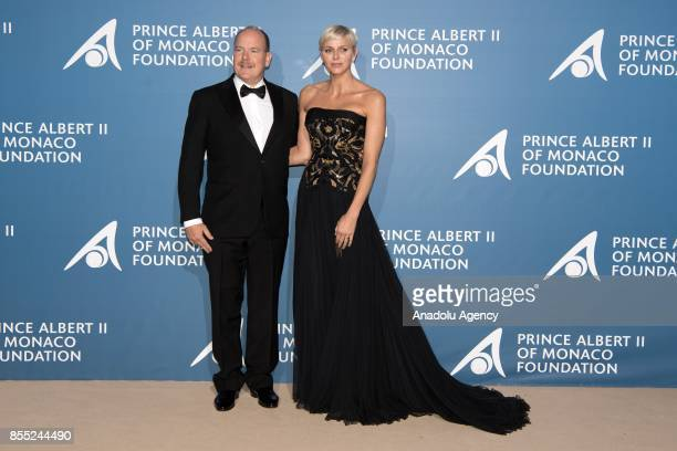 Prince Albert of Monaco and Princess Charlene of Monaco attend the inaugural 'MonteCarlo Gala for the Global Ocean' honoring Leonardo DiCaprio at the...