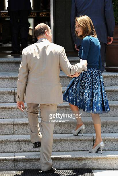 Prince Albert of Monaco and Princess Letizia of Spain at the Zarzuela Palace on June 25 2008 in Madrid Spain
