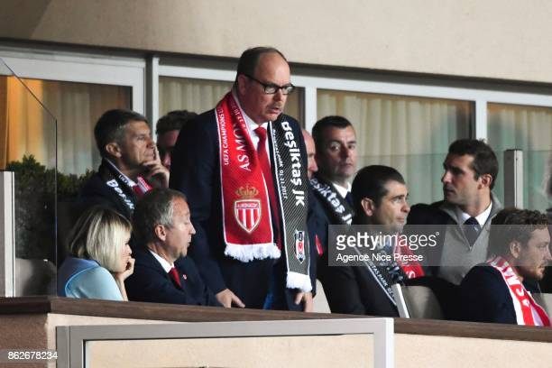 Prince Albert of Monaco and Vadim Vasyliev vice president of Monaco during the UEFA Champions League match between AS Monaco and Besiktas Istanbul at...