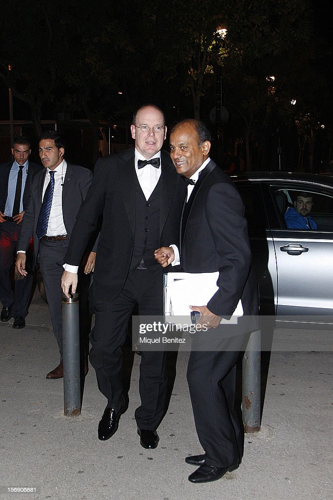 Prince Albert of Monaco arrives to attend the International Association of Athletics Federations (IAAF) gala on November 24, 2012 in Barcelona, Spain.