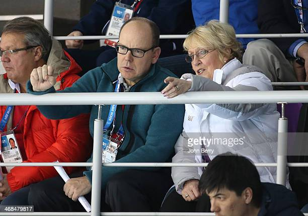 Prince Albert of Monaco attends the Curling Round Robin on day 3 of the Sochi 2014 Winter Olympics at Ice Cube Curling Center on February 10 2014 in...