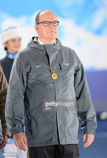 Prince Albert of Monaco attends the Luge Team Relay Medal Ceremony at the Sochi medals plaza during the Sochi Winter Olympics on February 14 2014 AFP...
