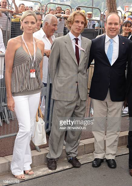 Prince Albert of Monaco Charlene Wittstock and Andrea Casiraghi at the Depart of the 'Tour de France' cycling race in Monte Carlo Monaco on July 04th...