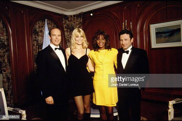 HSH Prince Albert of Monaco, German supermodel and actress Claudia Schiffer, American singer, actress and model Whitney Houston, and French TV presenter Michel Drucker during the World Music Awards In Monte Carlo.