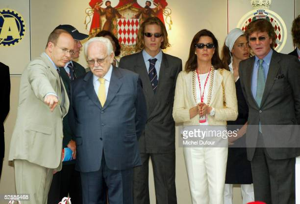 Prince Albert of Monaco is seen attending the F1 Race arrival with Prince Rainier Princess of Hanover and Ernst August of Hanover with Andrea...