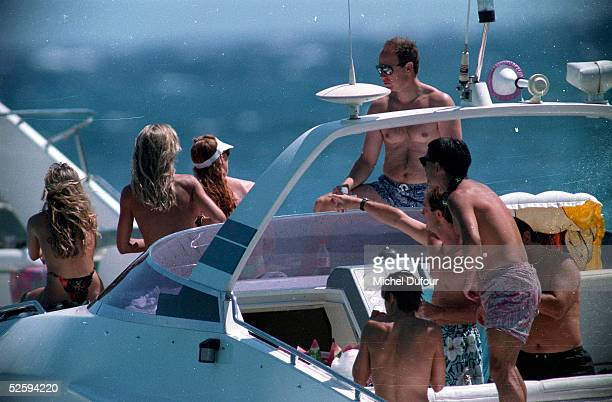 Prince Albert of Monaco is seen on his boat on holiday with friends in 1994 in St Tropez France The Prince's father Prince Rainier III died on April...