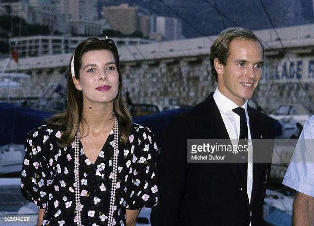 Prince Albert of Monaco is seen with his sister Princesse Caroline at Monaco in1988 France Their father Prince Rainier III died on April 6 2005 at...