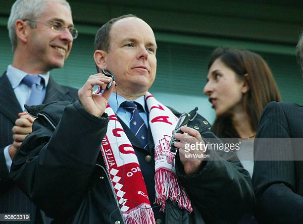 Prince Albert of Monaco looks on during the UEFA Champions League Semi Final 2nd Leg match between Chelsea and AS Monaco at Stamford Bridge on May 5...