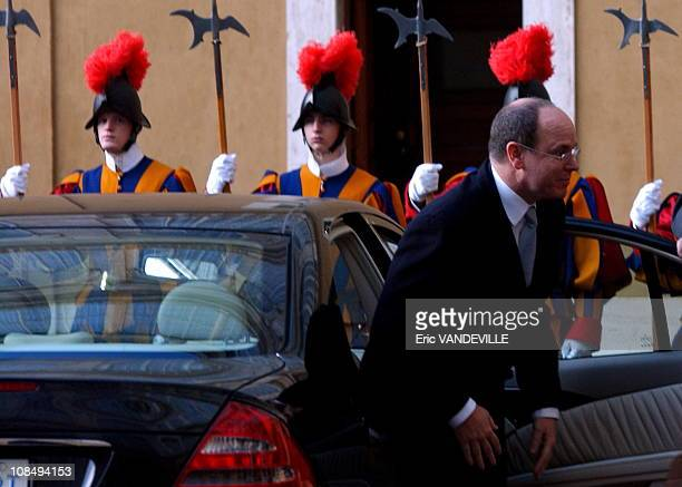 Prince Albert of Monaco met Pope Benedict XVI in the pontiff's private library at the Vatican Italy on May 11 2005