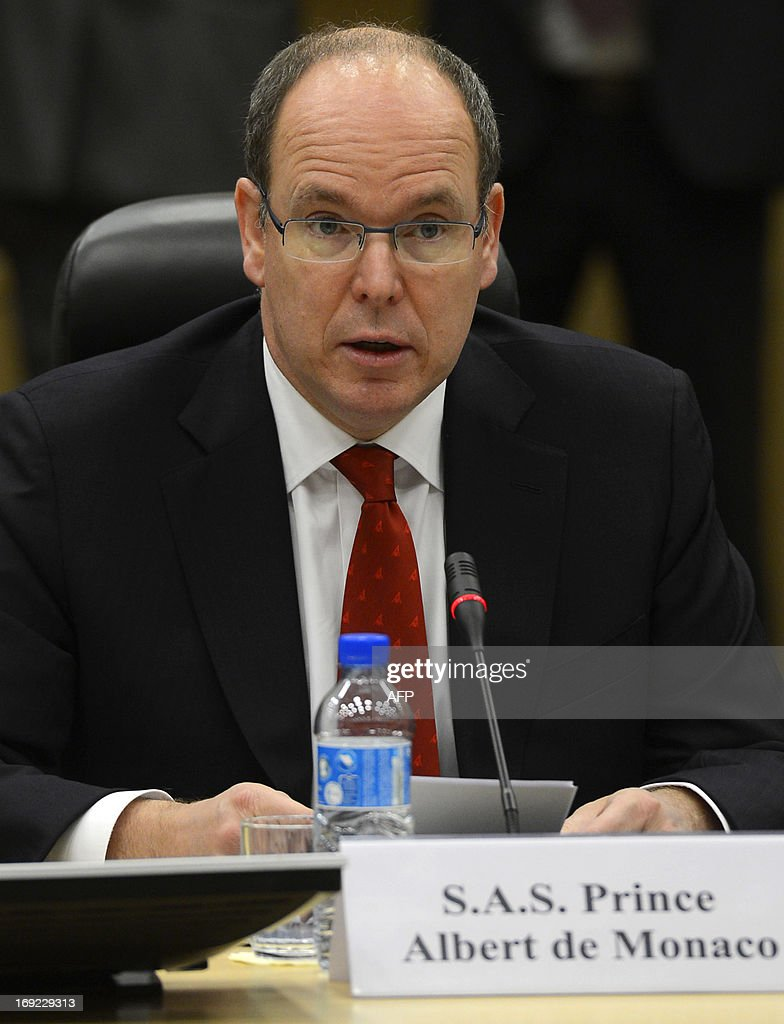 Prince Albert of Monaco speaks during a plenary meeting of the 36th Antarctic Treaty Consultative Meeting (ATCM XXXVI) and the 16th meeting of the Committee for Environmental Protection (CEP XVI) at the Egmont Palace in Brussels, on May 22, 2013. AFP PHOTO / BELGA / DIRK WAEM