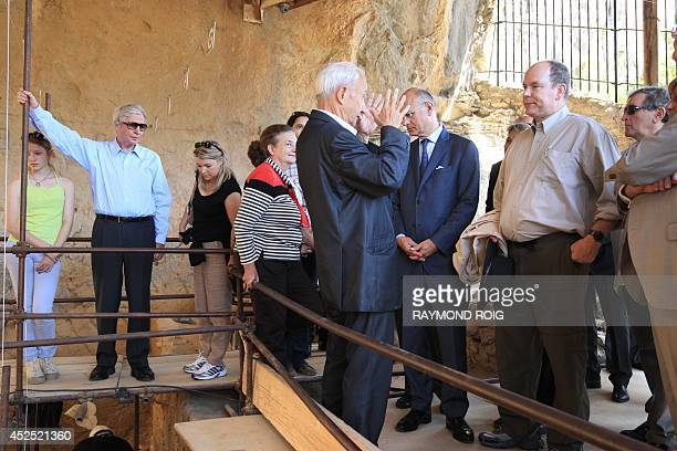 Prince Albert of Monaco with French archeologist geologist and prehistorian Henri Delumley visits the Caune de L'Arago for the 50th anniversary of...