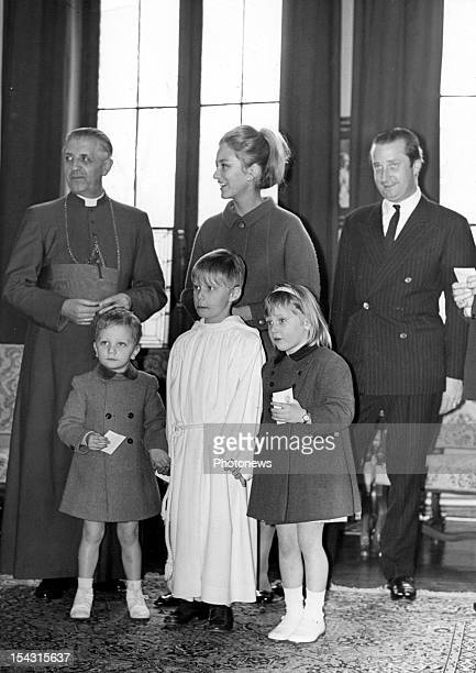 Prince Albert Princess Paola Prince Laurent Princess Astrid Cardinal Suenens at the solemn communion of Prince Philippe of Belgium in 1967