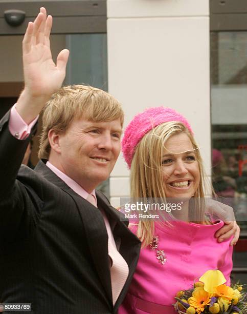 Prince Alexander and Princess Maxima of the Netherlands greet the crowd on Queen's Day on April 30 2008 in Franeker The Netherlands