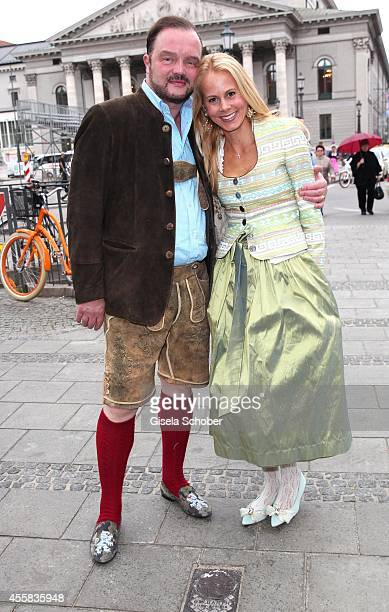 Prince Alexander zu Schaumburg Lippe and his wife princess Nadja zu Schaumburg Lippe attend the 'Fruehstueck bei Tiffany' on September 20 2014 in...