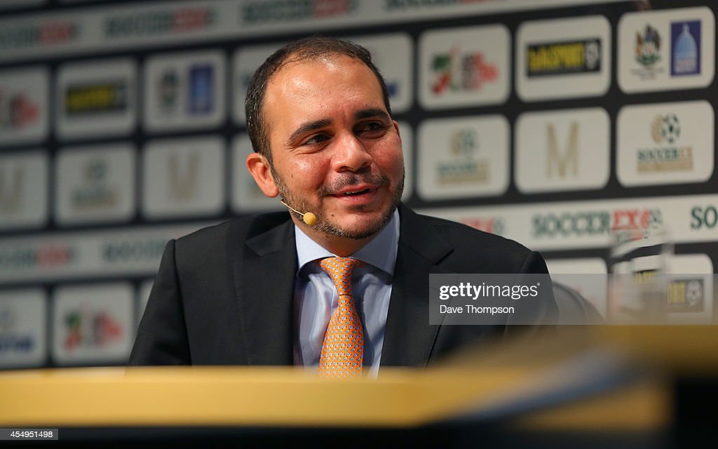 Prince Ali Bin Al Hussein FIFA VicePresident is interviewed on stage at the Soccerex European Forum Conference Programme at Manchester Central on...