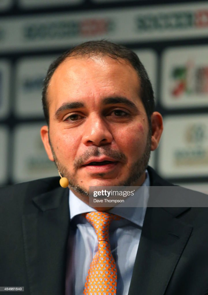 HRH <a gi-track='captionPersonalityLinkClicked' href=/galleries/search?phrase=Prince+Ali+Bin+Al+Hussein&family=editorial&specificpeople=160174 ng-click='$event.stopPropagation()'>Prince Ali Bin Al Hussein</a>, FIFA Vice-President, is interviewed on stage at the Soccerex European Forum Conference Programme at Manchester Central on September 8, 2014 in Manchester, England.