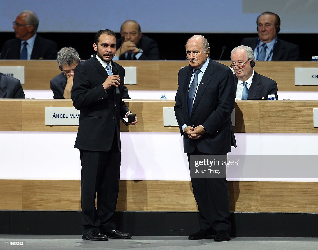 Prince Ali Bin Al Hussein is newly re-elected by FIFA Presdient, Joseph S.Blatter during the 61st FIFA Congress at Hallenstadion on June 1, 2011 in Zurich, Switzerland.