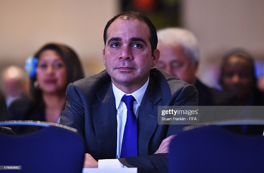 Prince Ali Bin Al Hussein of Jordan looks on during the third day of the 6th FIFA Women's Football Symposium at the Hyatt hotel on July 5 2015 in...