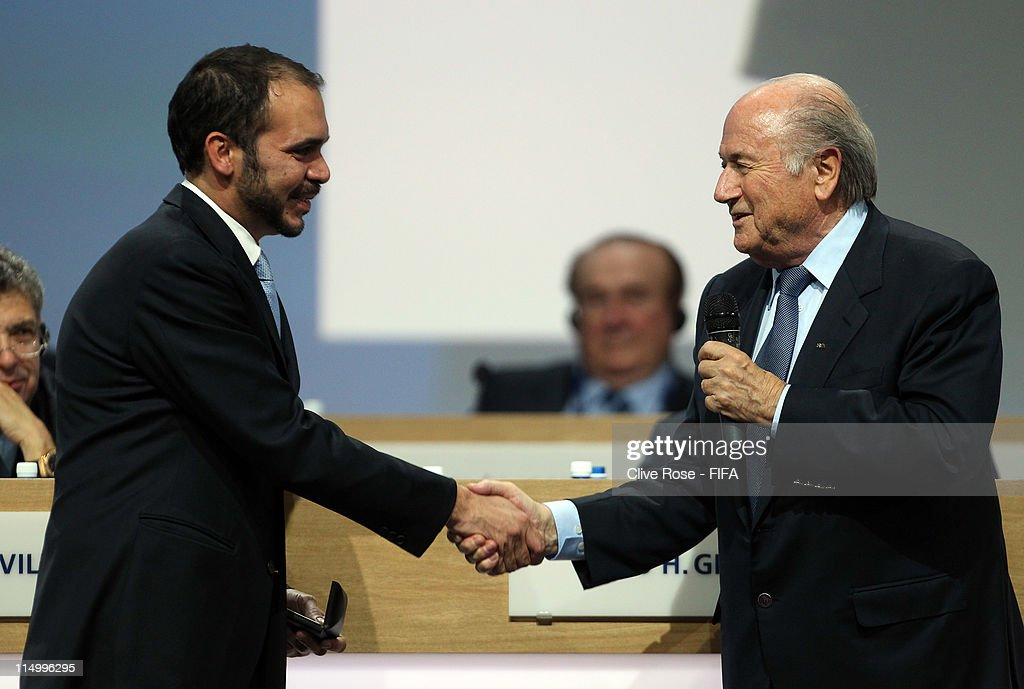 Prince Ali Bin Hussein is congratulated by newly re-elected FIFA Presdient, Joseph S.Blatter after being welcomed as a FIFA Vice-President (AFC) during the 61st FIFA Congress at Hallenstadion on June 1, 2011 in Zurich, Switzerland.