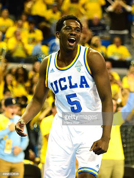 Prince Ali of the UCLA Bruins reacts after his dunk on Alex Poythress of the Kentucky Wildcats during a 8777 win over the Kentucky Wildcats at Pauley...