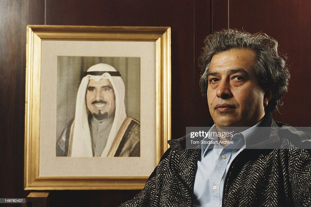 Prince AlMusar at the offices of the Kuwait Petroleum Corporation in London 1990 On the wall is a portrait of Emir of Kuwait Jaber al Ahmad al Jabir...