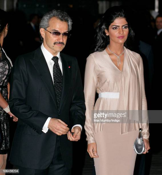 Prince Alwaleed Bin Talal Bin AbdulAziz Alsaud and Princess Amira attend the reopening of the newly restored Savoy Hotel on November 2 2010 in London...