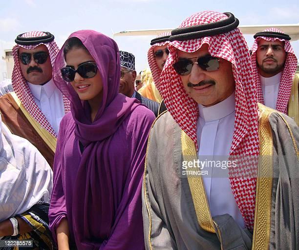 Prince AlWaleed Bin Talal [R] nephew of the Saudi King arrives in the Somalian capital Mogadishu August 27 2011 A delegation from the Saudi royal...