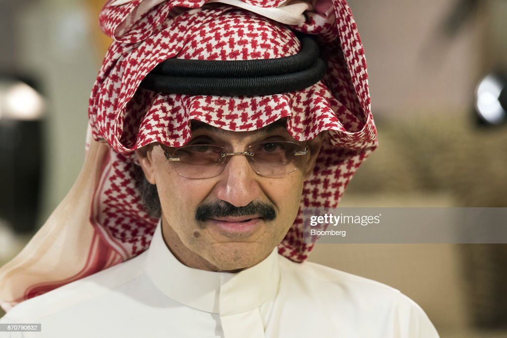Prince Alwaleed Bin Talal, Saudi billionaire and founder of Kingdom Holding Co., looks on during a Bloomberg Television interview at the MiSK Global Forum event in Riyadh, Saudi Arabia, on Wednesday, Nov. 16, 2016. Saudi Arabias King Salman embarked on the most sweeping crackdown yet of his reign, ordering security forces to arrest senior princes including one of the worlds richest men and driving out one of the most prominent officials from his ministerial role. Those detained included billionaire Prince Alwaleed bin Talal, who was picked up at his desert camp outside Riyadh, according to a senior Saudi official. Our editors select the best archive images of Prince Alwaleed bin Talal. Photographer: Mohammad Obaidi/Bloomberg via Getty Images