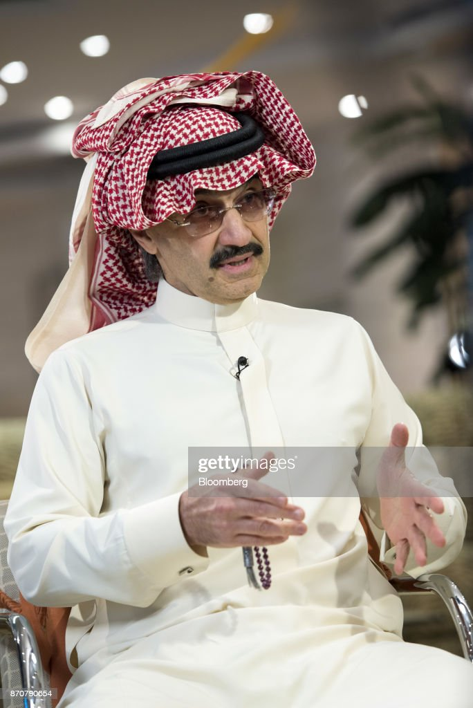 Prince Alwaleed Bin Talal, Saudi billionaire and founder of Kingdom Holding Co., speaks during a Bloomberg Television interview at the MiSK Global Forum event in Riyadh, Saudi Arabia, on Wednesday, Nov. 16, 2016. Saudi Arabias King Salman embarked on the most sweeping crackdown yet of his reign, ordering security forces to arrest senior princes including one of the worlds richest men and driving out one of the most prominent officials from his ministerial role. Those detained included billionaire Prince Alwaleed bin Talal, who was picked up at his desert camp outside Riyadh, according to a senior Saudi official. Our editors select the best archive images of Prince Alwaleed bin Talal. Photographer: Mohammad Obaidi/Bloomberg via Getty Images