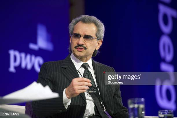 Prince Alwaleed Bin Talal Saudi billionaire and founder of Kingdom Holding Co speaks at the Bloomberg Year Ahead 2014 conference in Chicago Illinois...