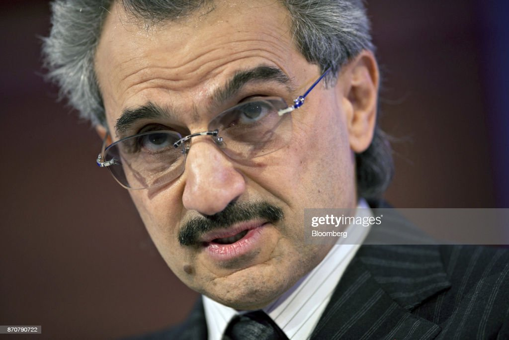 Prince Alwaleed Bin Talal, Saudi billionaire and founder of Kingdom Holding Co., speaks at the Bloomberg Year Ahead: 2014 conference in Chicago, Illinois, U.S., on Wednesday, Nov. 20, 2013. Saudi Arabias King Salman embarked on the most sweeping crackdown yet of his reign, ordering security forces to arrest senior princes including one of the worlds richest men and driving out one of the most prominent officials from his ministerial role. Those detained included billionaire Prince Alwaleed bin Talal, who was picked up at his desert camp outside Riyadh, according to a senior Saudi official. Our editors select the best archive images of Prince Alwaleed bin Talal. Photographer: Daniel Acker/Bloomberg via Getty Images