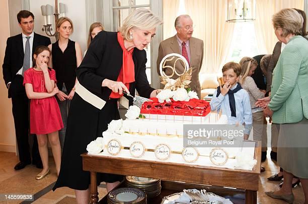 Prince Amadeo Princess Laetitia Maria Princess Maria Laura Princess Astrid King Albert and Prince Nicolas of Belgium assist at Princess Astrid's 50th...