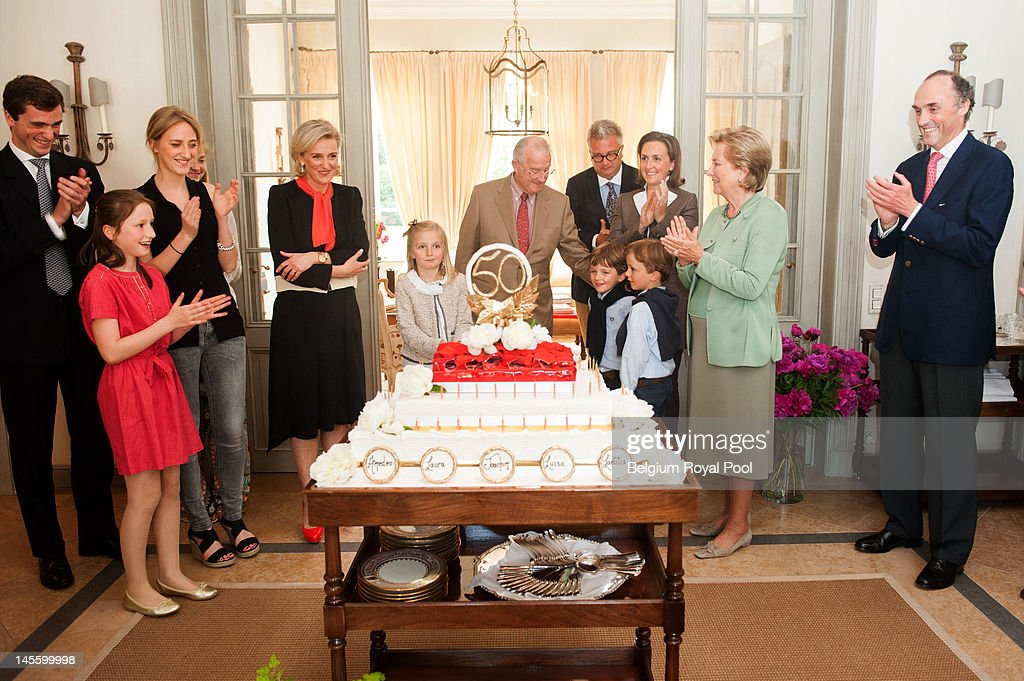 Prince Amadeo, Princess Louisa Maria, Princess Maria Laura, Princess Astrid, Princess Louise, King Albert, Prince Aymeric, Prince Nicolas, Prince Laurent, Princess Claire, Queen Paola and Prince Lorentz of Belgium assist Princess Astrid's 50th birthday at Schonenberg Residence on June 2, 2012 in Brussels, Belgium.