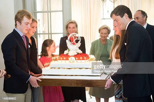 Prince Amadeo Princess Maria Laura Princess Laetitia Maria Princess Astrid Queen Paola and Prince Joachim of Belgium assist Princess Astrid's 50th...