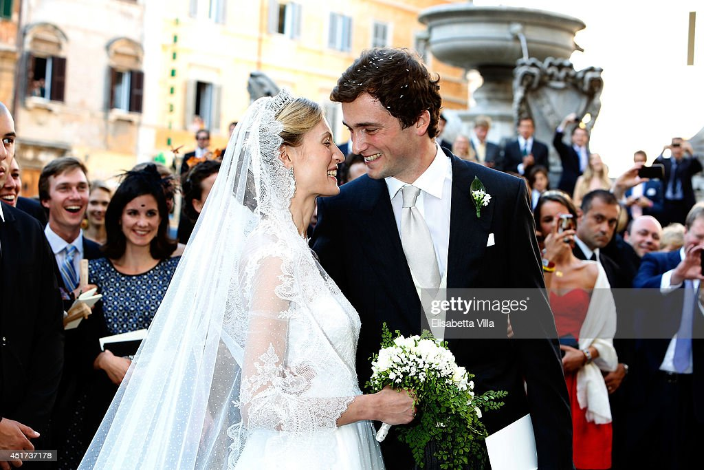 <a gi-track='captionPersonalityLinkClicked' href=/galleries/search?phrase=Prince+Amedeo+of+Belgium&family=editorial&specificpeople=221543 ng-click='$event.stopPropagation()'>Prince Amedeo of Belgium</a> and Princess Elisabetta Maria Rosboch von Wolkenstein celebrate after their wedding ceremony at Basilica Santa Maria in Trastevere on July 5, 2014 in Rome, Italy.