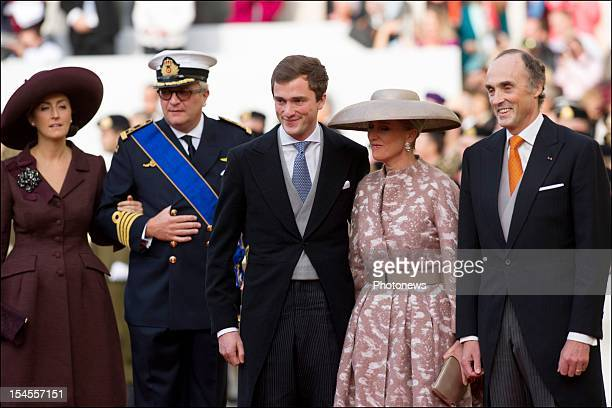 Prince Amedeo with Princess Astrid and Prince Lorenz of Belgium arrive at the Cathedral before the wedding ceremony of Prince Guillaume to Stephanie...