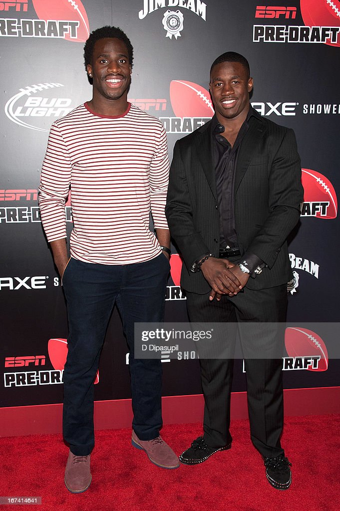 Prince Amukamara (L) and David Wilson attend the ESPN The Magazine 10th annual Pre-Draft Party at The IAC Building on April 24, 2013 in New York City.