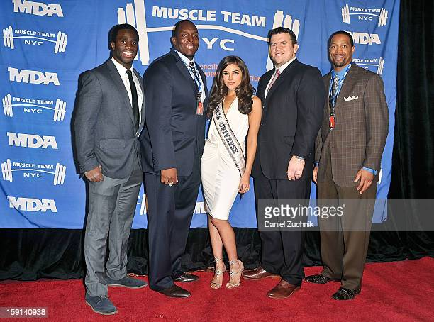 Prince Amukamara Kevin Boothe Olivia Culpo Chris Snee and Michael Boley attend the 16th Annual MDA Muscle Team Gala and Benefit Auction at Pier 60 on...