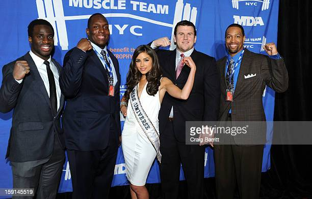 Prince Amukamara Kevin Boothe Olivia Culpo Chris Snee and Michael Boley attend 16th Annual MDA Muscle Team Gala and Benefit Auction at Pier 60 on...