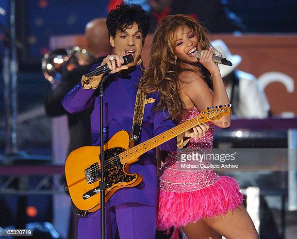 Prince and Beyonce perform a medley of his hits during The 46th Annual GRAMMY Awards Show at Staples Center in Los Angeles California United States