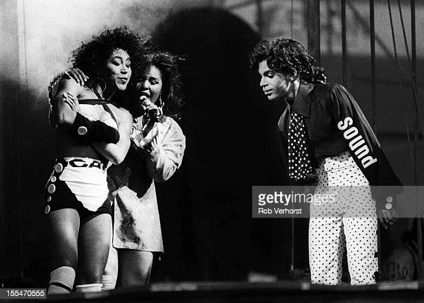 Prince and Cat Glover perform on stage on the Lovesexy Tour at Feijenoord Stadion De Kuip Rotterdam Netherlands 17th August 1988
