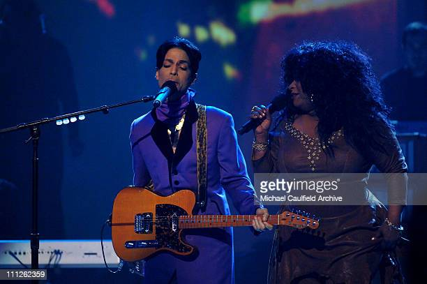 Prince and Chaka Khan perform 'Through the Fire' during 6th Annual BET Awards Show at Shrine Auditorium in Los Angeles CA United States
