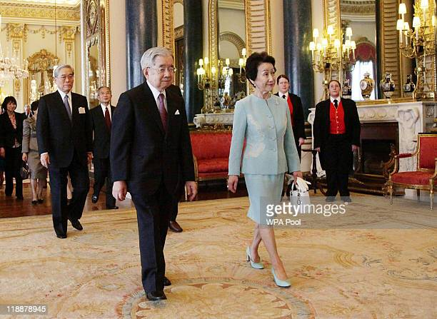 Prince and Princess Hitachi arrive for a reception for the Praemium Imperiale Awards at Buckingham Palace on July 11 2011 in London England