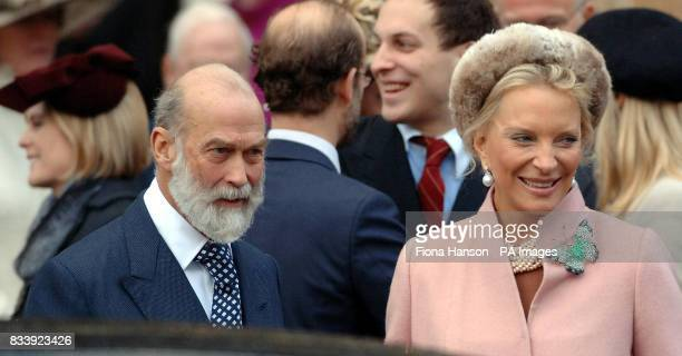 Prince and Princess Michael of Kent leave Westminster Abbey London after a service of celebration to mark the diamond wedding anniversary of Queen...