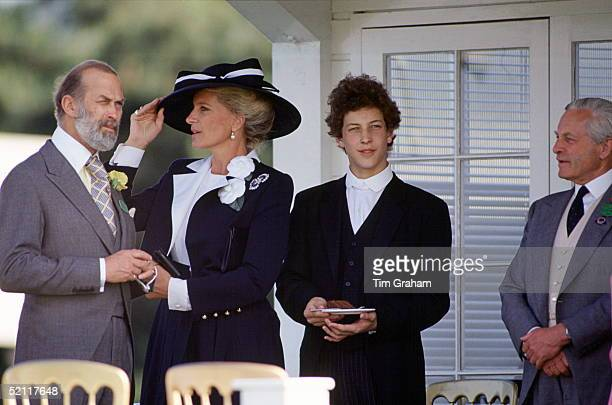 Prince And Princess Michael Of Kent With Their Son Lord Frederick Windsor At An Eton Boys' Tea Party At Ascot In Berkshire