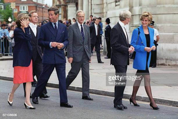 Prince And Princess Of Wales Walking With Headmaster Of Eton Mr John Lewis Having Left Prince William On His First Day At The New School
