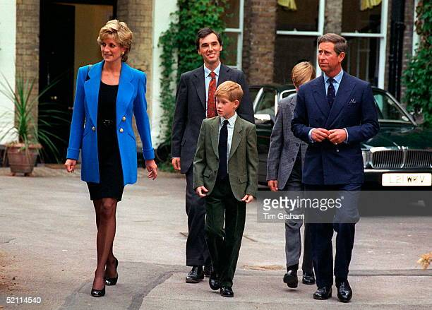 Prince And Princess Of Wales With Prince William On His First Day At Eton With Them Are Prince Harry And Prince William's Housemaster Dr Andrew Gailey
