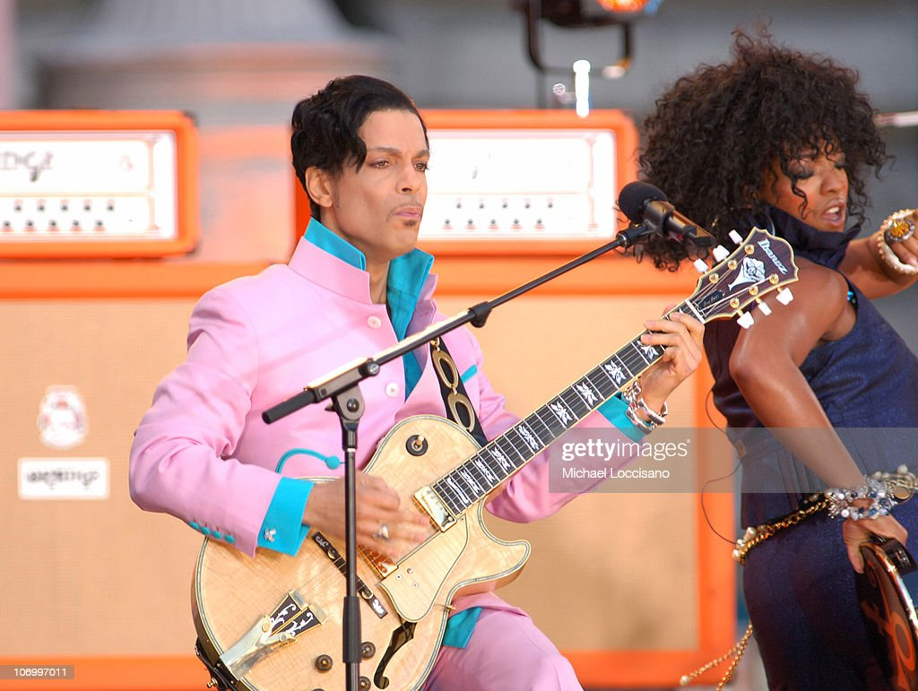 Prince and Tamar during Prince, Featuring Tamar, Performs at the Good Morning America Summer Concert Series - June 16, 2006 at Bryant Park in New York City, New York, United States.